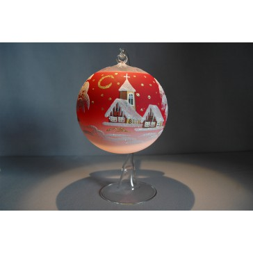 Christmas ball on a candle 12cm red www.sklenenevyrobky.cz
