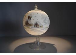 Vánoční koule na svíčku 12cm v bílém vánočním dekoru www.sklenenevyrobky.cz