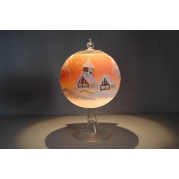 Vánoční koule na svíčku 12cm oranžová