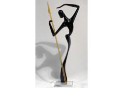 African man with javelin L2 33 cm www.sklenenevyrobky.cz
