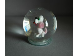 Sněžící koule 80mm pejsek růžový