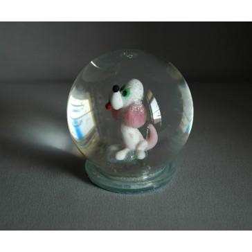 Sněhová koule 80mm pejsek růžový