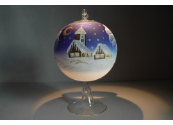 Candle ball 12cm with stand, in blue www.sklenenevyrobky.cz