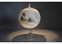 Candle ball 12cm with stand, in white www.sklenenevyrobky.cz
