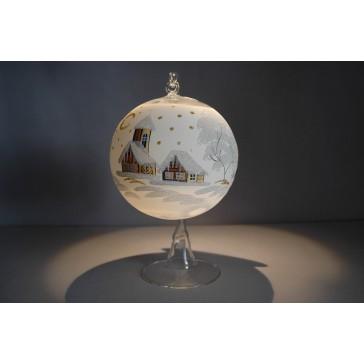 Vánoční koule na svíčku 12cm bílá + stojan