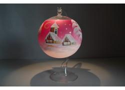 Vánoční koule na svíčku 12cm růžová + stojan