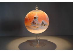 Candle ball 12cm with stand, in orange color www.sklenenevyrobky.cz