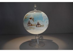 Candle ball 12cm with stand, in light blue color www.sklenenevyrobky.cz