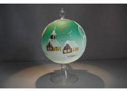 Guľa na sviečku 12cm so stojanom, v zelenej farbe www.sklenenevyrobky.cz