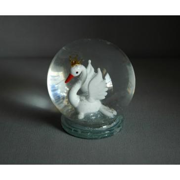 Sněžící koule 80mm labuť