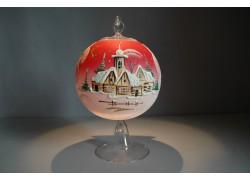 Candle ball 12cm, red www.sklenenevyrobky.cz
