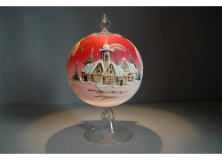 Vánoční koule na svíčku grafika 12cm červená