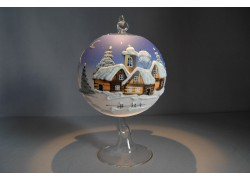 Candle ball 12cm, blue www.sklenenevyrobky.cz