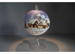 Vánoční koule na svíčku grafika 12cm modrá