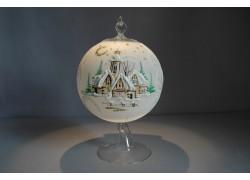 Vánoční koule na svíčku grafika 12cm bílá