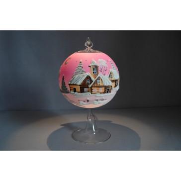 Vánoční koule na svíčku grafika 12cm růžová
