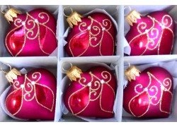 Christmas ornaments Heart small set 6pcs