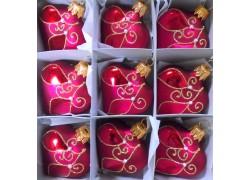 Christmas ornaments Heart small set 9pcs