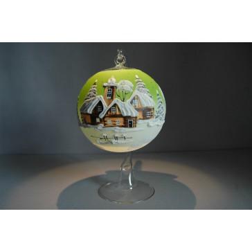 Vánoční koule na svíčku grafika 12cm světle zelená