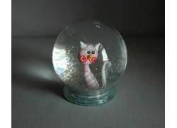 Sněžící koule 80mm kočka růžová pruhovaná