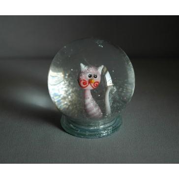 Sněhová koule 80mm kočka růžová pruhovaná