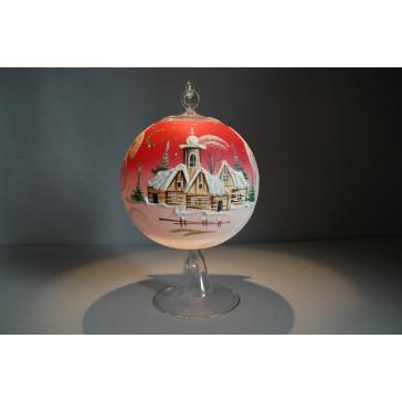 Vánoční koule na svíčku grafika 12cm + stojan červená