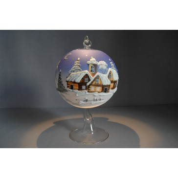 Vánoční koule na svíčku garfika 12cm modrá + stojan