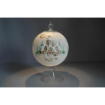 Vánoční koule na svíčku grafika 12cm bílá + stojan