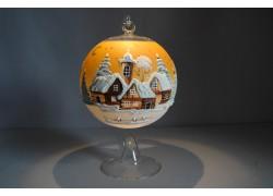 Vánoční koule na svíčku 12cm oranžová + stojan
