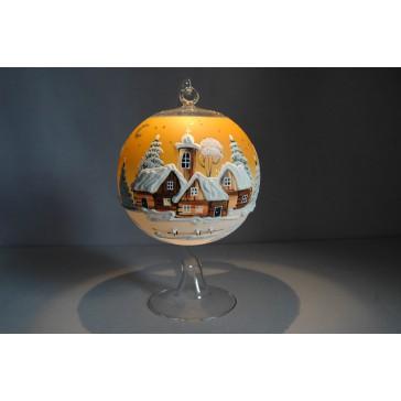 Vánoční koule na svíčku grafika 12cm oranžová + stojan