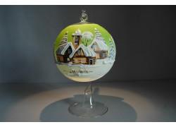 Vánoční koule na svíčku 12cm světle zelená + stojan