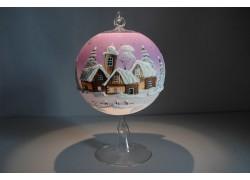 Vánoční koule na svíčku 12cm fialová + stojan