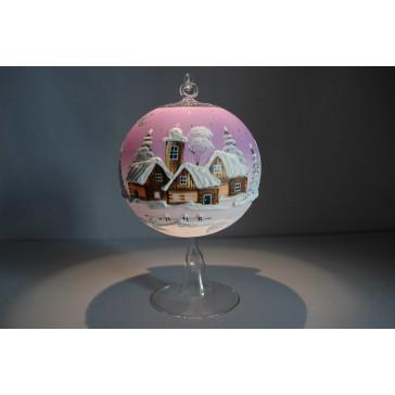 Vánoční koule na svíčku grafika 12cm růžová + stojan