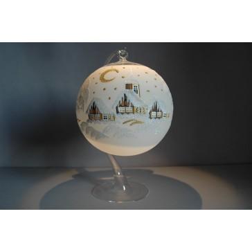 Vánoční koule na svíčku 15cm bílá