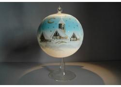 Vánoční koule na svíčku 15cm světle modrá