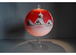 Candle ball 15cm with stand, in red www.sklenenevyrobky.cz