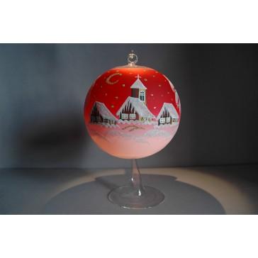 Vánoční koule na svíčku 15cm červená + stojan