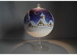 Candle ball 15cm with stand, in blue www.sklenenevyrobky.cz