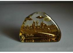 Skleněná plaketa Karlův most zlatá 10x7,5x3 cm