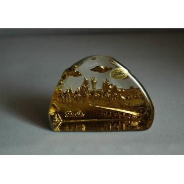 Skleněná plaketa Karlův most zlatá