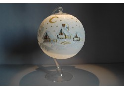 Candle ball 15cm with stand, in white www.sklenenevyrobky.cz