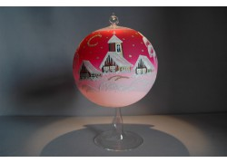 Candle ball 15cm with stand, in pink www.sklenenevyrobky.cz