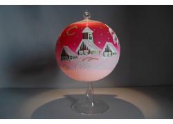 Vánoční koule na svíčku 15cm růžová + stojan