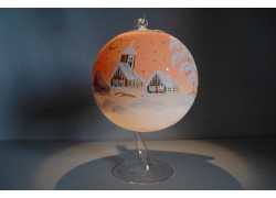 Candle ball 15cm with stand, in orange color www.sklenenevyrobky.cz