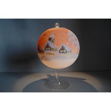 Vánoční koule na svíčku 15cm oranžová + stojan