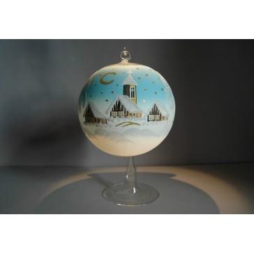 Vánoční koule na svíčku 15cm světle modrá + stojan