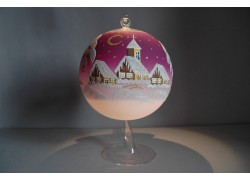 Candle ball 15cm with stand, in purple www.sklenenevyrobky.cz