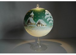Candle ball 15cm with stand, in green color www.sklenenevyrobky.cz