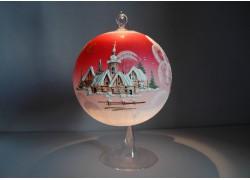 Candle ball 15cm, red www.sklenenevyrobky.cz
