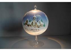 Vánoční koule na svíčku grafika 15cm modrá